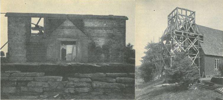 Dokumentation av nedtagningen. Fotat av Sigurd Wallin 1916. Återfinns i hans bok Seglora Kyrka på Skansen, 1918, på s. 43 samt s. 53.