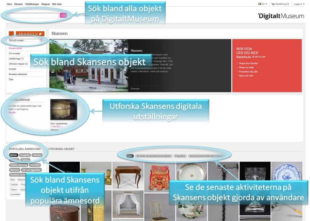 Så här ser Skansens egen sida ut på DigitaltMuseum. Härifrån kan du nå allt som vi hittills har publicerat. Klicka på bilden för att se den i ett större format.