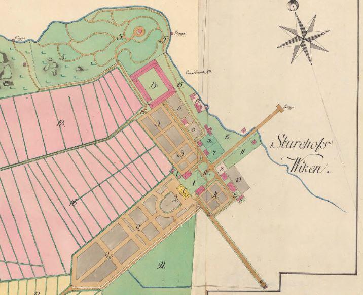 """En del av Sturehovs slottanläggning från en ägomätnings karta från 1792. Tillgänglig på Lantmäteriets tjänst """"Historiska kartor"""". Ett ypperligt källmaterial för att rekonstruera och restaurera den yttre miljön."""