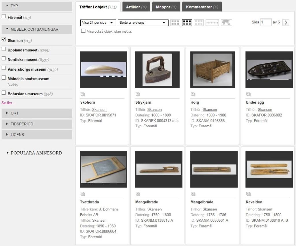 """Klicka på den här bilden för att komma till en sökträff på """"textil"""" i Skansens samlingar."""