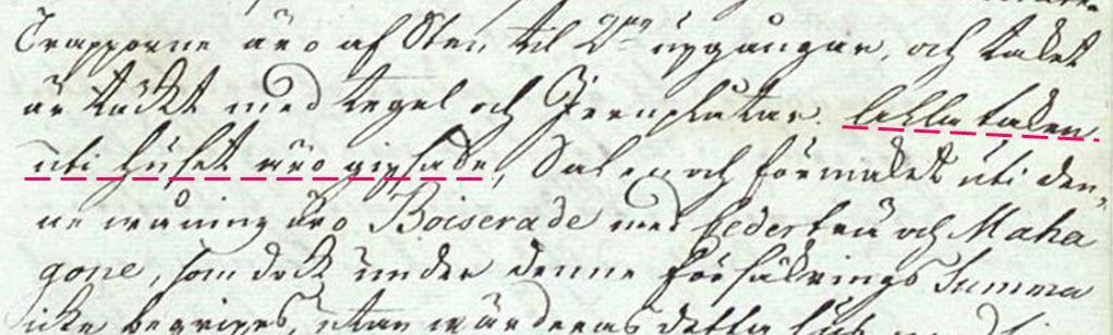 Detalj från originalhandlingen från 1774 som finns digitaliserad via Brandkontorets historiska arkiv.