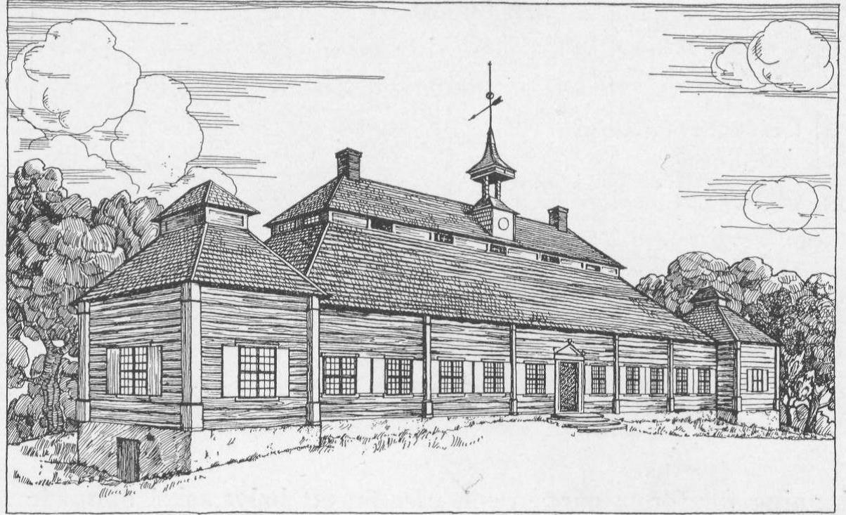 Illustration som visar på hur Skogaholm troligen såg ut innan 1790-talet. Det synliga liggtimret var rödfärgat och knutkedjorna var täckta med vitmålade lisenser. Fönstren var mindre och troligen småspröjsade.