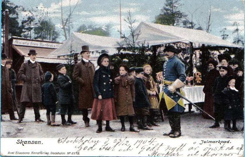 Ett vykort från Skansens första (eller andra) julmarknad ger oss en bild av hur det kunde se ut.